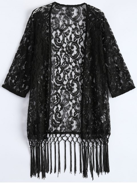 women's Fringe Lace Kimono Cover Up - BLACK 2XL Mobile