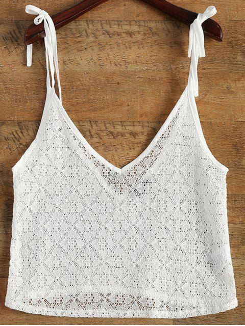 women V Neck Sheer Lace Cami Top - WHITE S Mobile