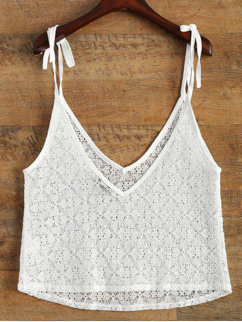 affordable V Neck Sheer Lace Cami Top - WHITE XL Mobile