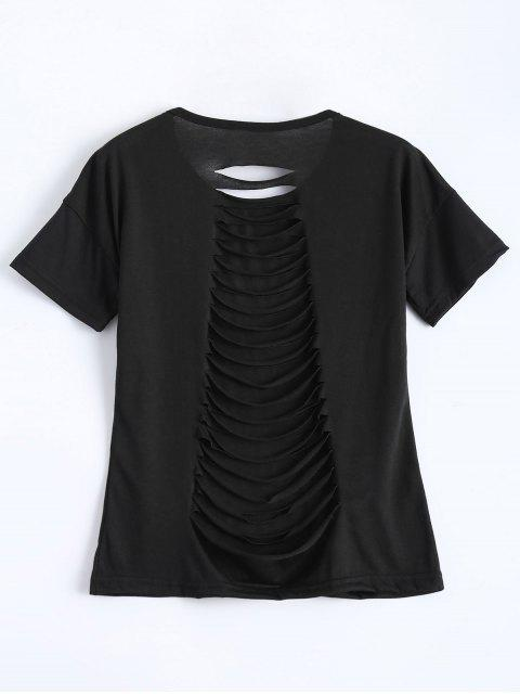 best Short Sleeve Distressed Hole Tee - BLACK L Mobile