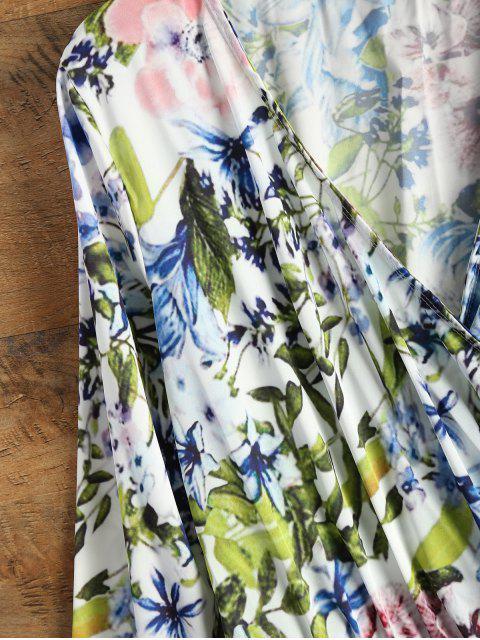 shops Long Sleeve Wrap Floral Romper - BLUE XL Mobile