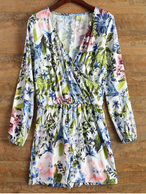 fashion Long Sleeve Wrap Floral Romper - BLUE S Mobile