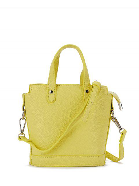 womens Textured Crossbody Handbag - YELLOW  Mobile