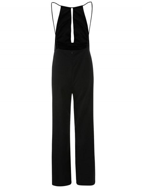 womens Plunge Keyhole Wide Leg Palazzo Jumpsuit - BLACK L Mobile