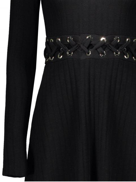 ladies Ribbed A Line Midi Sweater Dress - BLACK M Mobile