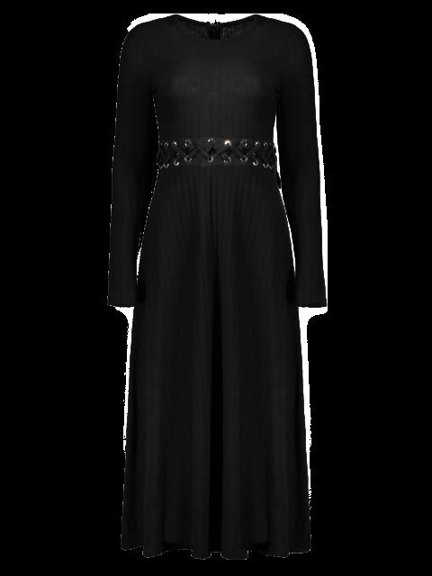 Vestido de tejido acanalado Midi Una Línea - Negro M Mobile