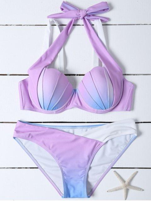 buy Ombre Color Mermaid Shell Bikini - BLUE + PURPLE M Mobile