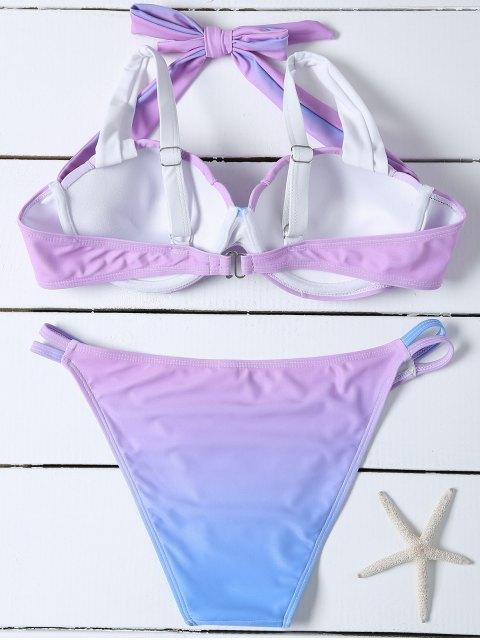 women's Ombre Color Mermaid Shell Halter Bikini - BLUE + PURPLE M Mobile