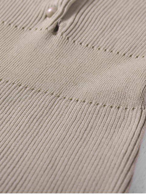 shop Wide Strap Bodycon Sweater Dress - KHAKI ONE SIZE Mobile