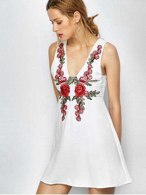 hot Floral Plunging Neck Mini Dress - WHITE L Mobile