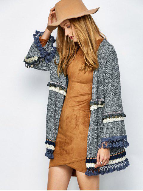 fashion Marled Tasselled Boho Cardigan - GRAY M Mobile