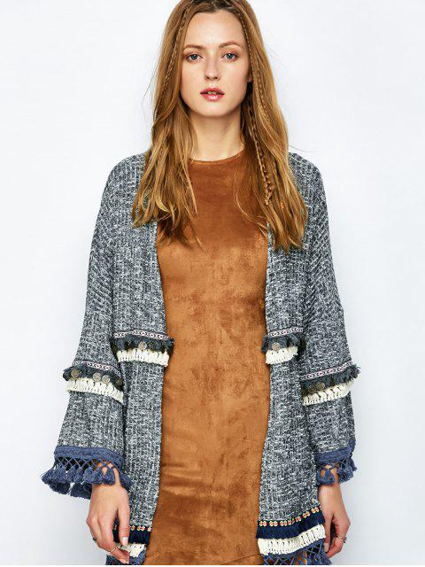 chic Marled Tasselled Boho Cardigan - GRAY S Mobile