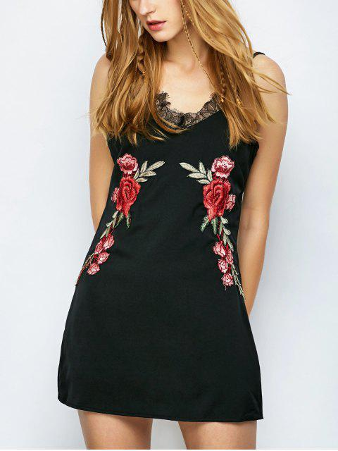 women Floral Patched Cami Party Wear Dress For Women - BLACK XL Mobile