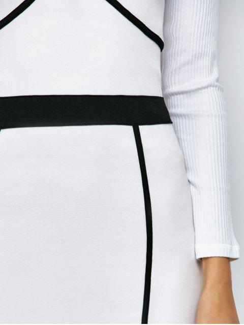 best Piping Bodycon Bandage Slip Dress - WHITE M Mobile