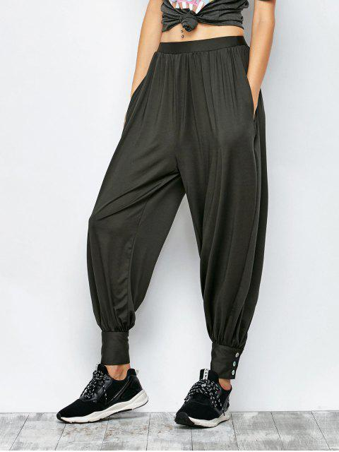 ladies Loose Fit Harem Pants - DEEP GRAY S Mobile