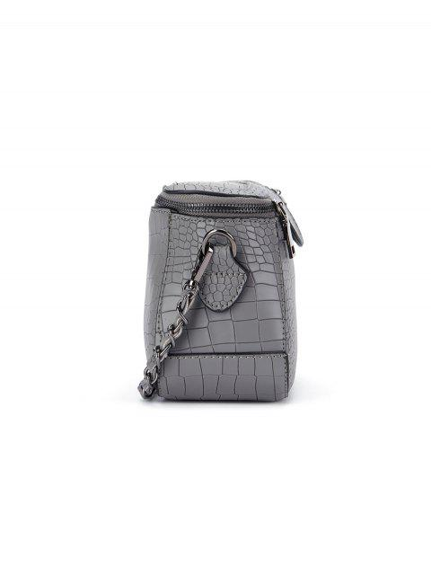 shop Chains Crocodile Pattern Cross Body Bag - GRAY  Mobile