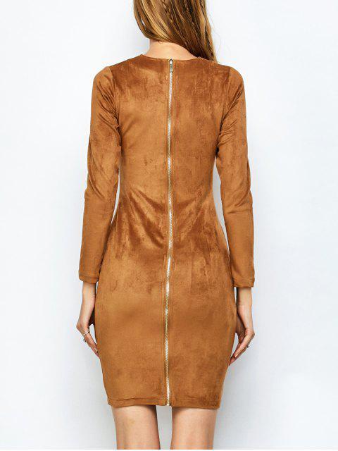 sale Back Zip Faux Suede Bodycon Dress - CAMEL M Mobile