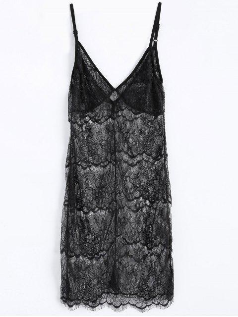 women Sheer Lace Slip Babydoll Dress Lingeries - BLACK M Mobile