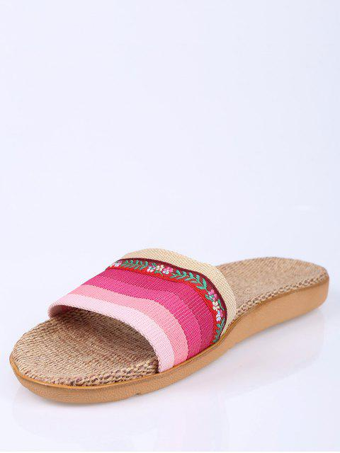 new Flowers Ombre Striped House Slippers - PINK SIZE(37-38) Mobile