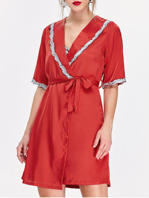 affordable Lace Hem Nightdress and Sleep Robe with Belt - RED M Mobile