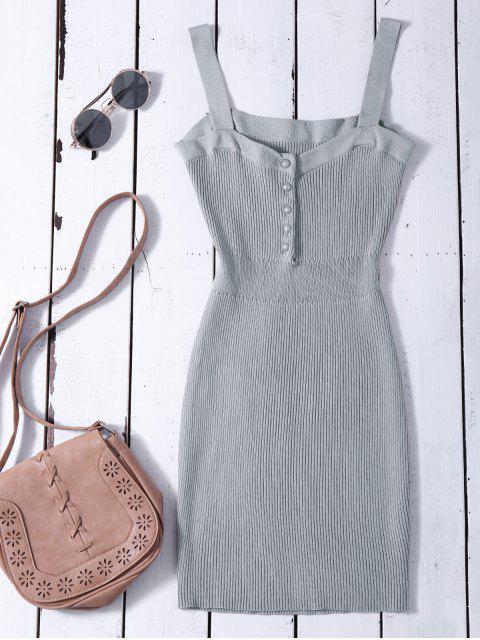 Vestido de Suéter Ceñido con Tirantes Anchos - Gris Única Talla Mobile