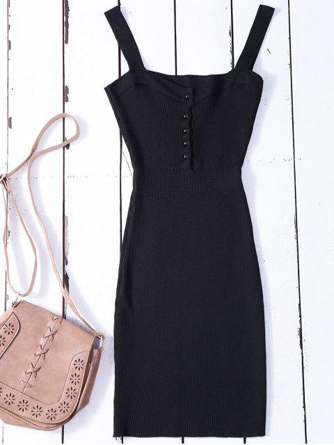 Bodycon Pullover Kleid mit Weiten Riemen - Schwarz Eine Größe Mobile