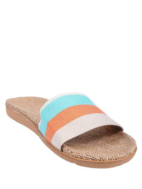outfit Striped Color Block Linen House Slippers -   Mobile