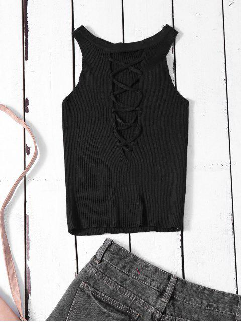shops Cropped Lace Up Sweater Tank Top - BLACK ONE SIZE Mobile
