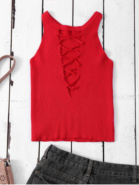 fashion Cropped Lace Up Sweater Tank Top - RED ONE SIZE Mobile