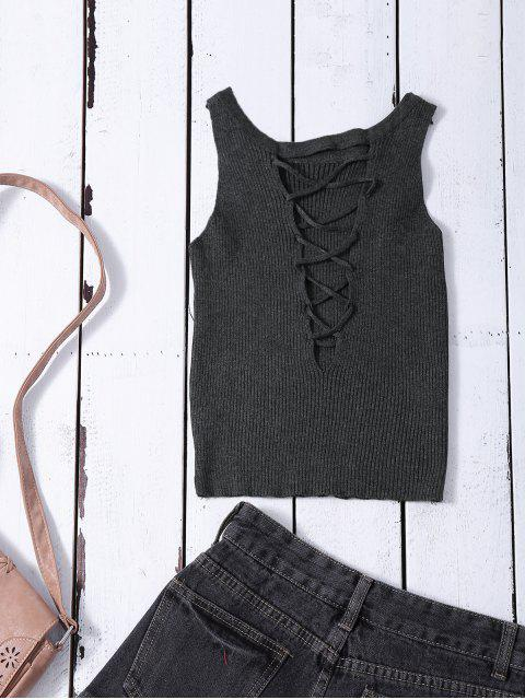 chic Cropped Lace Up Sweater Tank Top - GRAY ONE SIZE Mobile