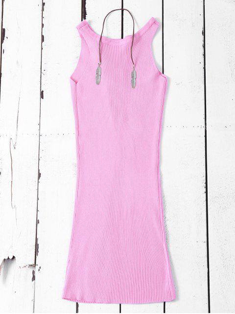 trendy Sleeveless Ribbed Knit Bodycon Dress - PINK ONE SIZE Mobile
