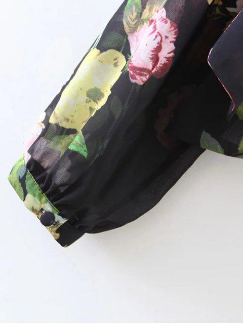 outfits Knotted Cropped Surplice Floral Blouse - BLACK S Mobile
