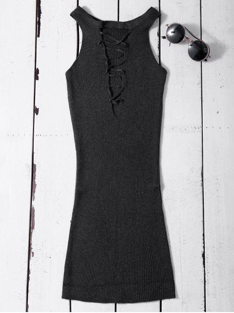 chic Sleeveless Ribbed Knit Bodycon Dress - DEEP GRAY ONE SIZE Mobile