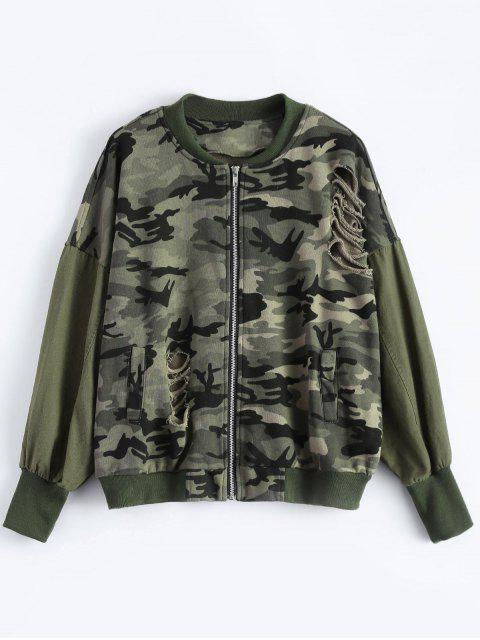 outfits Distroyed Camo Bomber Jacket - ACU CAMOUFLAGE M Mobile