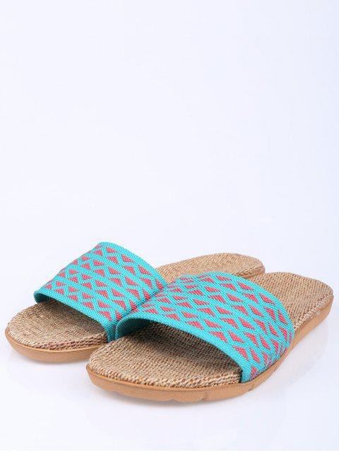 shop Geometric Pattern Linen Color Block House Slippers -   Mobile