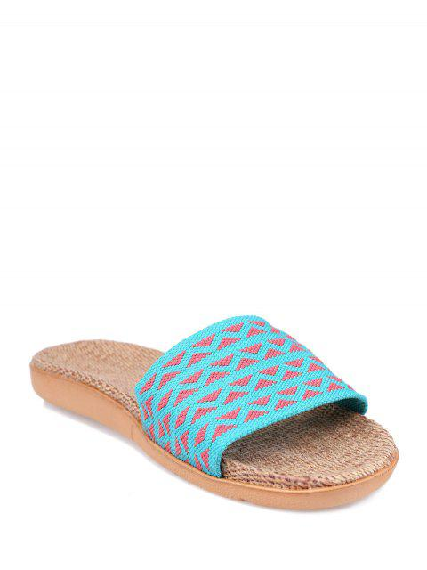 shop Geometric Pattern Linen Color Block House Slippers - LAKE BLUE SIZE(37-38) Mobile