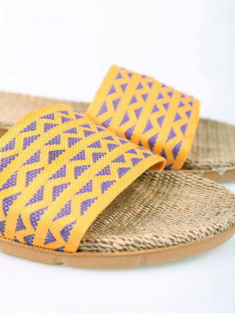 latest Geometric Pattern Linen Color Block House Slippers -   Mobile