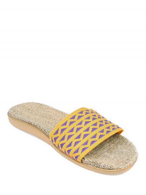 trendy Geometric Pattern Linen Color Block House Slippers -   Mobile