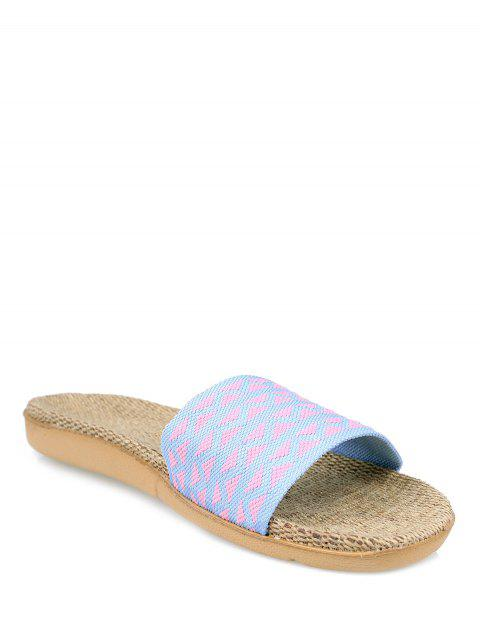 chic Geometric Pattern Linen Color Block House Slippers -   Mobile