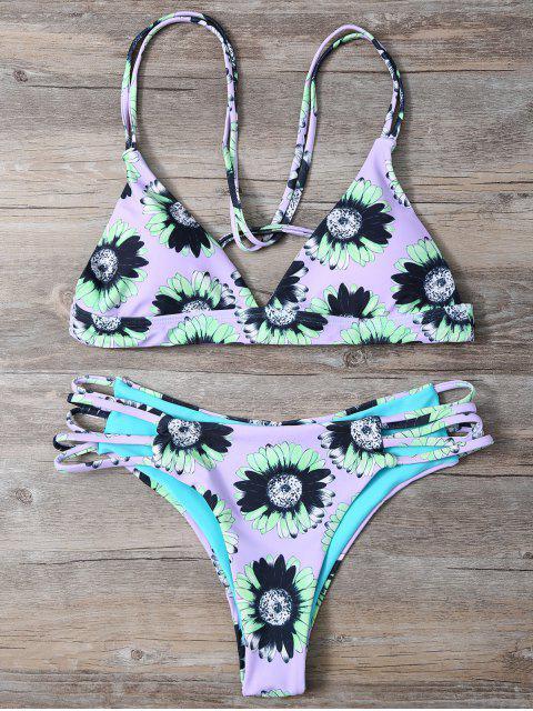 outfit Sunflower Print Cami Bikini - LIGHT PURPLE L Mobile