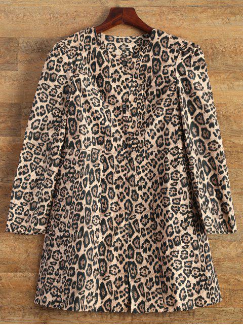 Leopard Print Skirted Coat - Leopard XL Mobile