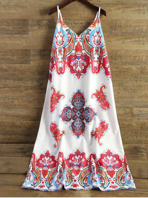 Robe camisole mi-longue imprimée - Blanc XL Mobile