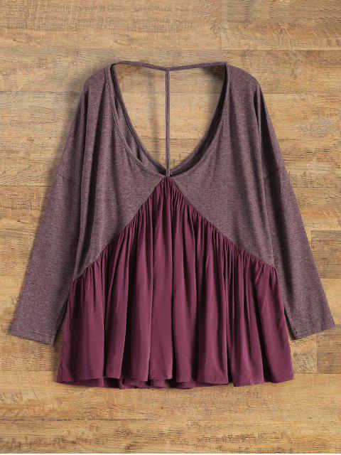 T-shirt large de grande taille à dos nu à col plongeant - Rouge vineux  M Mobile