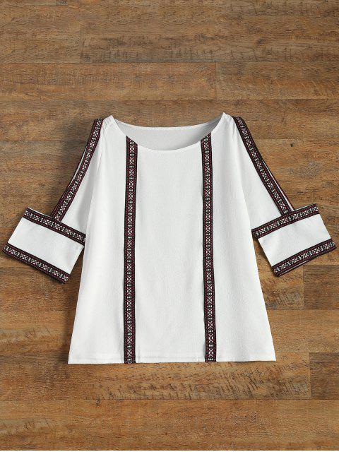 fancy Embroidered Cold Shoulder Blouse - WHITE L Mobile