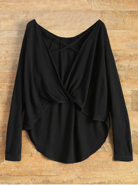 chic Surplice High Low T-Shirt - BLACK L Mobile