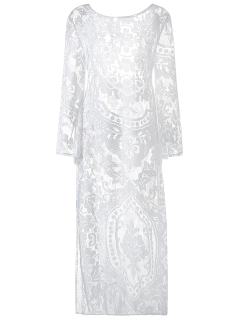 women Flare Sleeve Sheer Lace Maxi Dress - WHITE L Mobile