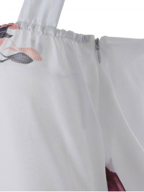fancy Sleeveless Chiffon Maxi Floral Dress - WHITE M Mobile