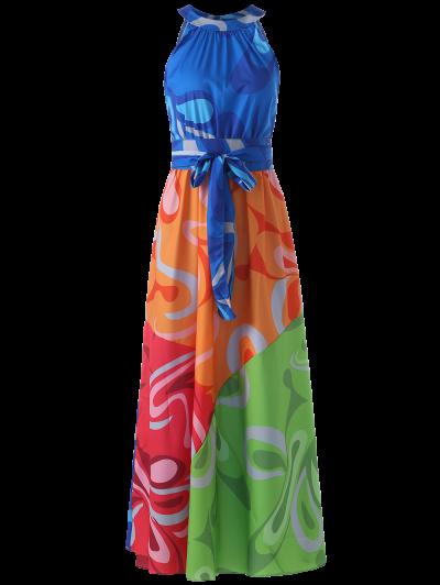 الملونة ماكسي الرسن شاطئ اللباس - S