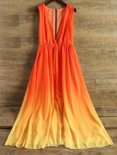 Plunging Neck Ombre Chiffon Dress - Jacinth L