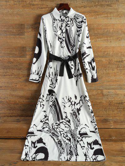 الفستان الطويل بالشيفون والطبع مع الكم الطويل - أبيض فاتح M